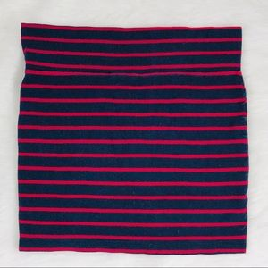 Red & Navy Stripped Cotton Pencil Skirt Small